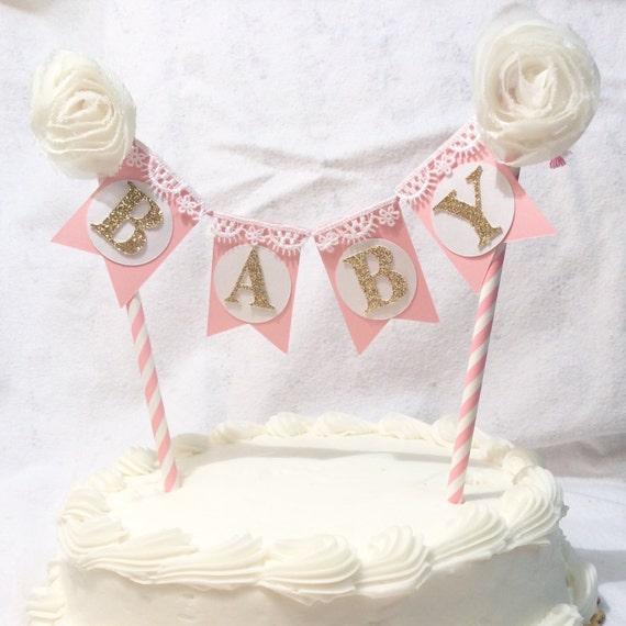 Baby shower cake banner it 39 s a girl decor by toribelledesignss for It s a girl dekoration