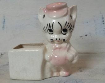 Vintage Cat Planter.    Indoor ceramic planter