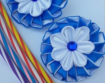 kanzashi flower, blue flower, kanzashi, barrette, kids hair clip, toddler hair clip, adult hair clip