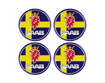 Saab Sweden Resin / Gel Domed Self Adhesive Wheel Centers Set of 4 x 30mm