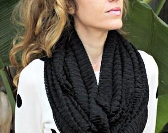 Black Open Knit Infinity Scarf, Solid Black Wide Long Loop Scarf