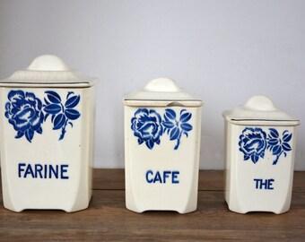 Spice jars, storage for the kitchen tiled Badonviller 1900 1910