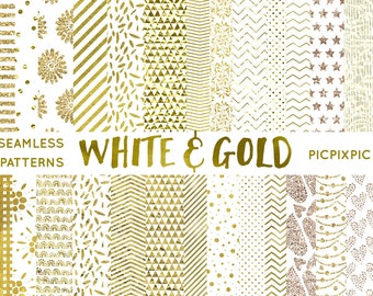 White and Gold Digital Paper Bundle - Instant Download - Scrapbooking Seamless Patterns - Polka Dot, Chevron, Hearts, Confetti Digital Paper