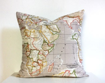 Neutral Map Cushions, Geographical Pillows, Travel Interior Design