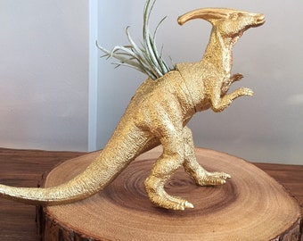 SALE!! Large gold dinosaur planter with air plant; air plant holder; desk planter; dorm decor, plantasaur