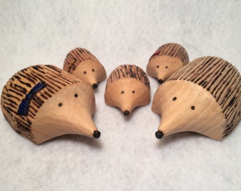 Hand Carved Hedgehog Family of 5