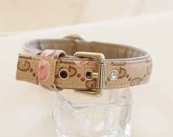 Dog Collar in beige with flowers . GD inspired