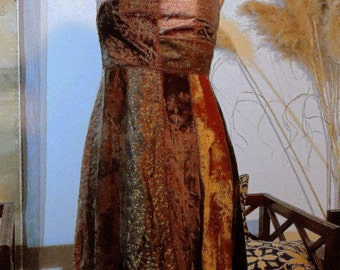 1980 Vintage: Dress René DERHY patchwork of velvet room uniqueAuthentique, discount