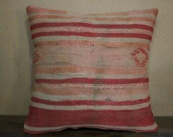 "16""x16"" Kilim Pillow,Kilim Cushion Cover Throw Pillow Stripe Designs Turkey Kilim Pillow 40cm x 40 cm SP40-107"
