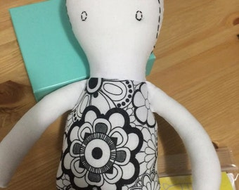 Flower Power Soft Doll Eco Toy Hand Embroidered Can be Washed and Reused with 10 Markers