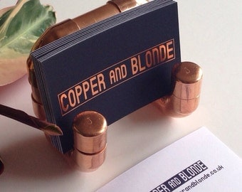 Business card holder, copper, industrial copper pipe and fittings