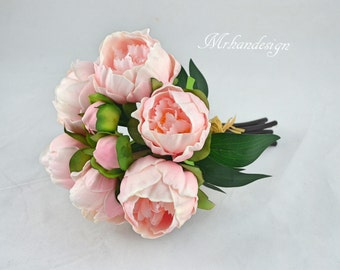 Pink Peony Bundles Real Touch Flowers Silk Peony Bridal Bouquets Wedding Centerpieces Bridesmaid Bouquets