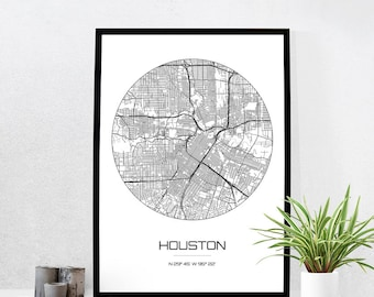 houston map print city map art of houston texas poster coordinates wall art gift - Home Decor Houston