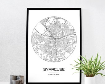 Syracuse Map Print - City Map Art of Syracuse New York Poster - Coordinates Wall Art Gift - Travel Map - Office Home Decor