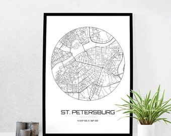 St. Petersburg Map Print - City Map Art of St. Petersburg Russia Poster - Coordinates Wall Art Gift - Travel Map - Office Home Decor