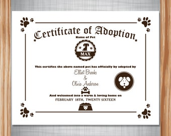 Puppy Dog Adoption Certificate ~ Digital ~ Personalized and Printable