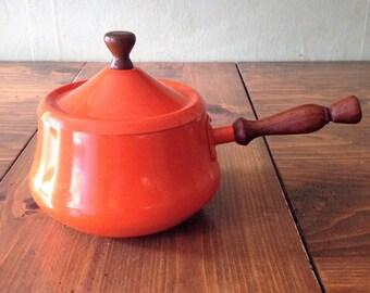 Vintage Burnt Orange Pot for fondue, sauces, soup, spaghetti w/ teakwood handle, movie theatre prop, 70s,retro, hipster,kitchen tool