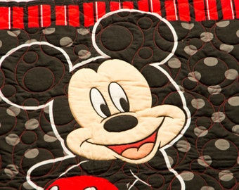 SALE PRICE !  Mickey Quilt, Professionally Quilted, 57 x 62.5, Great for Twin Bed, Shannon Cuddle Minky Backing, WONDERFUL Gift!