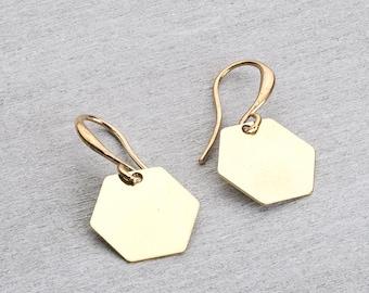 Brass earrings geometric Hexagon