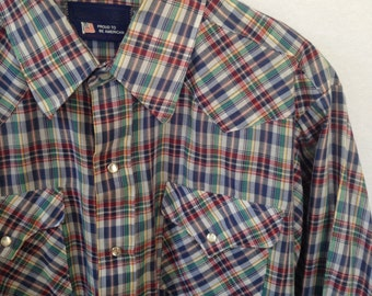 plaid western snap front shirt by Panhandle Slim
