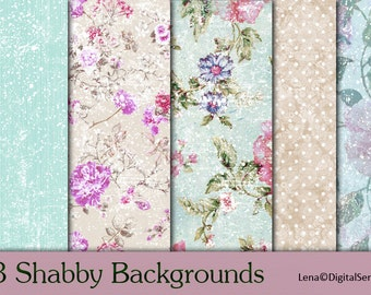 13 Shabby Backgrounds BIG  INSTANT DOWNLOAD Shabby Chic decoupage Paper  scrapbooking