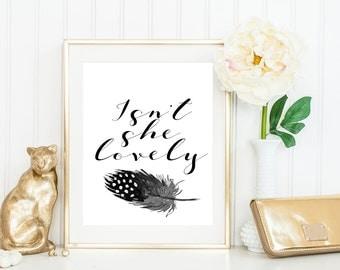 Nursery art print, Isn't she lovely, Printable art, Baby girl nursery decor, Nursery art prints, Nursery prints girl,