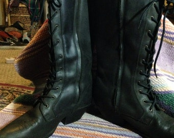 Tall black lace up boots