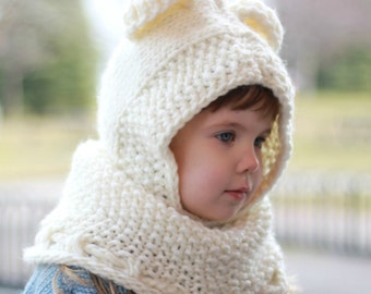 Knitting pattern, Patron tricot – Bobby Bear Hooded Cowl Hood (12/18 month - Toddler - Child – Teen- Adult sizes)