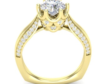 Yellow Gold Knife Edge Ring Engagement Ring Crown Head Ring 1 Carat Round Forever One Colorless Moissanite Center Semi Mount New 14K Setting