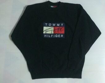 Vintage TOMMY HILFIGER Flag Sweatshirt Rap Hip Hop