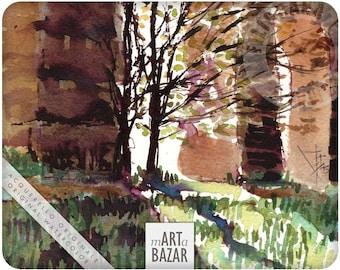 """watercolor - """" golden twin trees along Claudio's aqueduct"""""""
