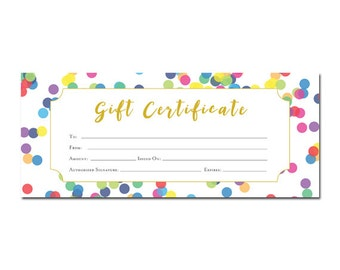 Gift certificate etsy polka dots gift certificate colorful printable premade customer appreciation gift yadclub Choice Image