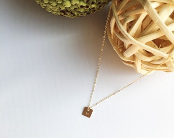 Gold filled Square Handstamped Heart Necklace