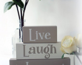 Live Laugh Love Wooden Stacking Blocks, Shelf Blocks, New Home Gift, Home Decoration, Lounge Decor, Live Laugh Love, Hand Painted, Handmade