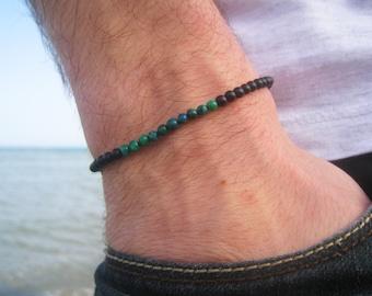 Men's Tiny Beaded Bracelet, Men's Minimal Bracelet, Gemstone Bracelet for Him, Chrysocolla Bracelet for Man, Black Onyx Bracelet, Delica
