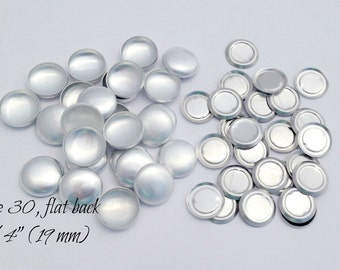 Size 30 - 50 Cover Buttons- FLAT backs, SIZE 30 (3/4 Inch - 19 mm), Flat Backs-Aluminum Buttons to Cover- QTY 50