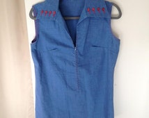 Vintage 60's Denim & Red Button Zipper Front Sleeveless Collared Casual Tunic Top Shirt Size Large