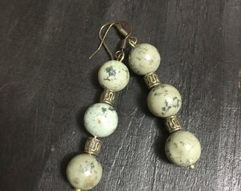Green Stone Earrings with Brass accent beads