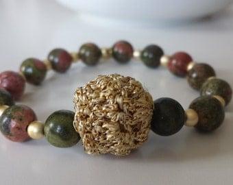 Crochet beaded bracelet, unakite Crochet ball bracelet and beads, crochet blacelet, beaded bracelet, beaded jewelry, unakite jewelry