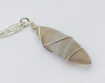 Gray Agate Pendant Necklace