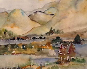 Original Watercolor landscape painting,16x20 in. matted