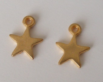 Gold or Silver Solid Metal Star Charms pack of 5