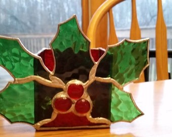 holly candle holder