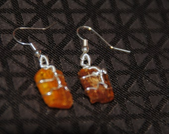 Baltic amber silver wire wrapped dangling earrings