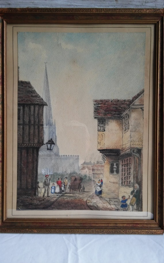 """Vintage early 19th c. Watercolor and Charcoal of an English Town Scene, circa 1820, Artist unknown. The watercolor is 9 5/8"""" w by 13 1/2"""" h"""