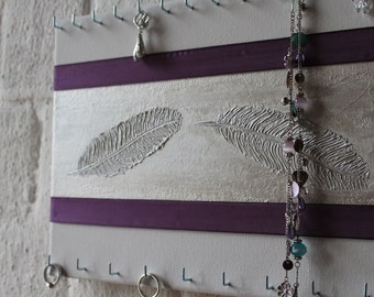 "Jewelry holder ""Feather dark purple"""