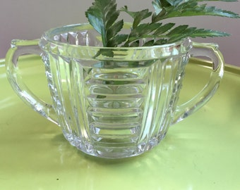 Anchor Hocking Sugar Bowl Art Deco Clear Glass With Two Handles Geometric Design AHC34 1930s 1940s Glassware