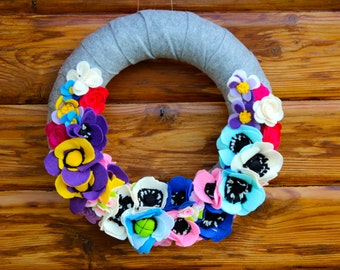 floral felt wreath wreath with flowers felt flowers felt door decor housewarming wreath gift idea  gift for her gift for couple present