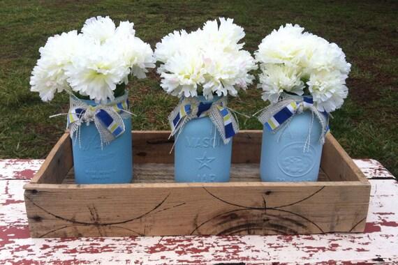 Mason jar box blue ombre jars rustic