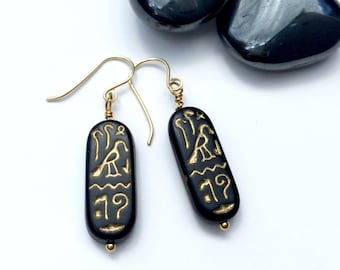 SALE: Egyptian Cartouche Earrings, Gold Filled, Gift for Her, Unique Gift, Black Earrings, Black Jewelry, Gold Jewelry (ER1012)